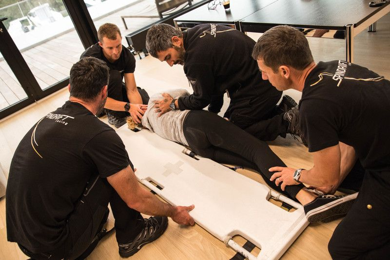 Spindrift racing team doing safety training for the Jules Verne Trophy 2017-2018.